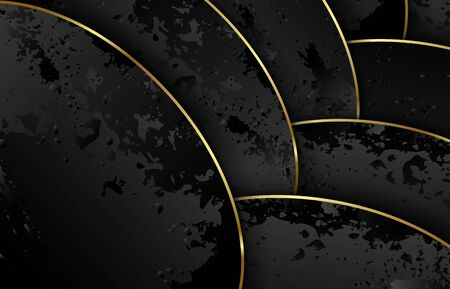 Waves of black texture paper with gold. Volumetric curves with overlapping and shadow. Modern exquisite abstract background. Template banner, poster, cover and presentation. Vector illustration