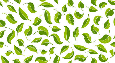 Green leaves. Seamless pattern. Eco, bio, healthy and fresh food background template. Spring and summer theme. Design of textiles, packaging and wrapping paper. Isolated. Vector illustration