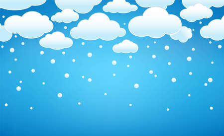 Clouds with snow. Blue sky with snowy clouds and falling snow. Winter background template for Merry Christmas and New Year. Vector illustration Иллюстрация