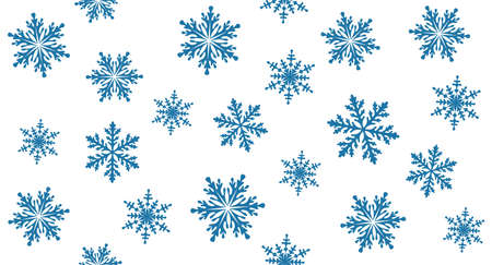 Snowflakes. Christmas seamless pattern. Background template for winter, New Year and Christmas posters, greetings, invitations. Design holiday packaging, wrapping paper and textiles. Isolated. Vector