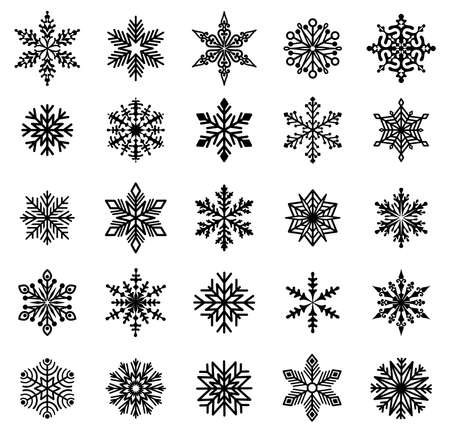 Snowflakes. Set of varied snowflakes. Design element for Christmas, New Years and Winter Holidays. Black silhouette. Isolated. Vector