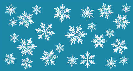 Snowflakes. Christmas blue background. Background template for winter, New Year and Christmas posters, greetings, invitations. Design holiday packaging, textiles and wrapping paper. Isolated. Vector Иллюстрация