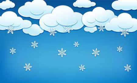 Clouds with snowflakes. Blue sky with snowy clouds and falling snowflakes. Winter background template for Merry Christmas and New Year. Vector illustration