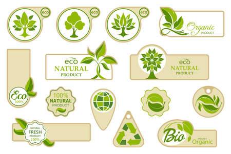 Ecology icons. Collection of logos with leaves and trees. Bio, organic and natural symbols. Set of tags and labels for fresh and ecological products. Isolation. Vector illustration