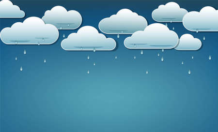 Clouds and rain. Blue sky and rain clouds and falling rain. Autumn or spring background template. Concept for weather forecast, seasonal holidays. Vector illustration
