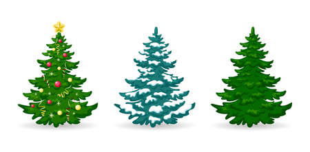 Christmas tree. Set of Christmas trees with decorations and snow. Green pine or fir with balls, garlands and ribbons. Design element Merry Christmas, New Year and Winter Holidays. Isolated. Vector