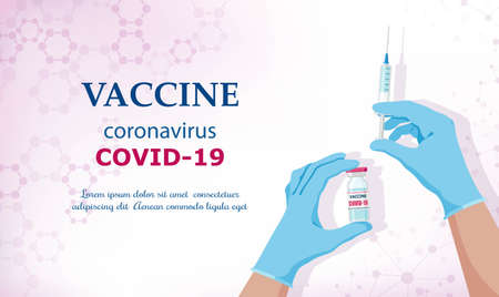 Coronavirus vaccine COVID-19. Vaccine and vaccination against coronavirus, COVID-19, virus, flu. Hands in blue gloves of doctor, nurse, scientist hold an ampoule, syringe. Horizontal banner. Vector Иллюстрация