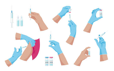 Doctor hands with syringe and ampoule with vaccine or medicine. Doctor hands making an injection. Vaccination and immunization concept. Preventive medicine, treatment. Colorful set. Isolated. Vector Иллюстрация