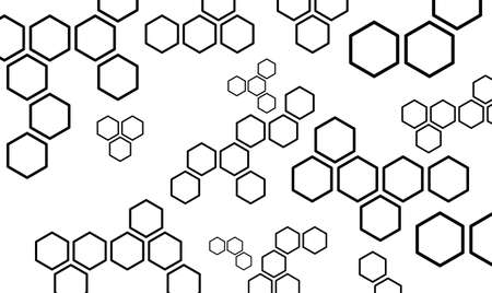 Abstract geometric background with hexagons. Medicine, science and technology concept. Background template for new innovative medical technology and research design. Isolated black silhouette. Vector