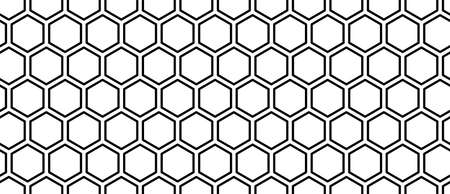 Abstract geometric seamless pattern with hexagons. Medicine, science and technology concept. Technology innovation and research background template. Isolated black silhouette. Vector