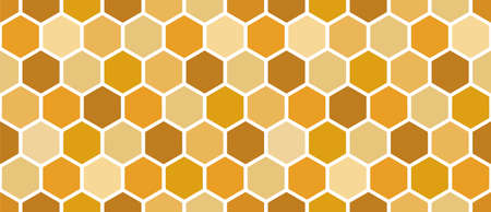 Yellow honeycomb seamless pattern. Orange hexagons. Abstract background of honey bee honeycomb. Vector illustration