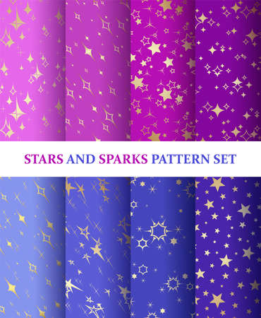 Stars and sparks. Seamless patterns set. Starry background for packaging, textile and wrapping paper design. Template for festive, sparkling, shiny background. Colorful collection. Vector Иллюстрация