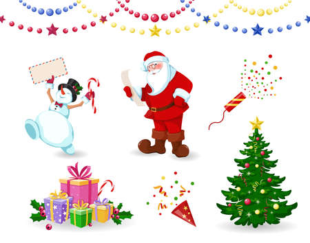 Santa Claus, Snowman and Christmas tree with gifts. Santa Claus reads letter, the snowman holds an envelope in his hands. Set of elements for Merry Christmas and Happy New Year. Isolated. Vector