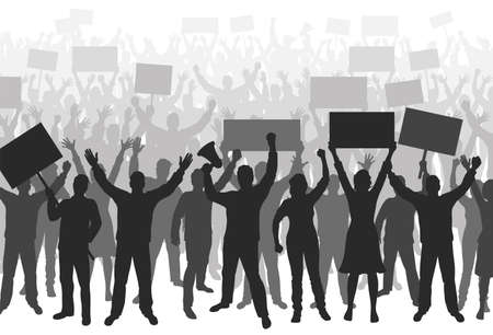Crowd of protesters. Silhouettes of people with hands raised up, with banners and megaphone. Demonstration, strike and revolution concept. Political protest and the fight for human rights. Vector Иллюстрация