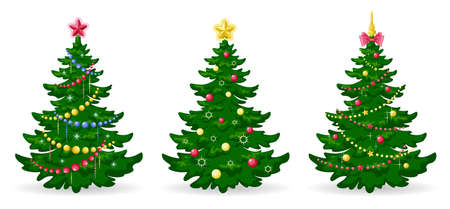 Christmas tree. Set of Christmas trees with decorations. Green pine or fir with balls, garlands and ribbons. Merry Christmas and Happy New Year. Winter holidays design element. Isolated. Vector