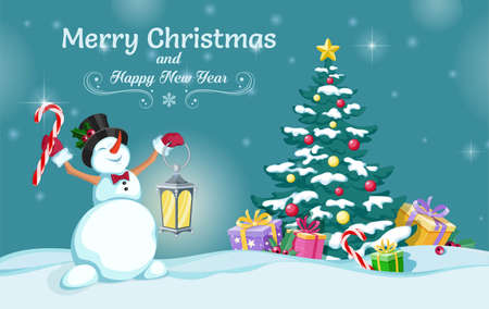 Cheerful snowman holds candy cane and lamp in his hands. Christmas tree with gifts. Merry Christmas and Happy New Year. Greeting card, holiday poster and banner. Vector illustration Иллюстрация