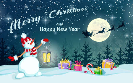 Cheerful snowman holds lamp in his hands. Santa Claus on sleigh with reindeer on background of full moon. Merry Christmas and Happy New Year. Greeting card, holiday poster and banner. Vector