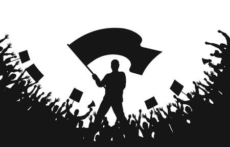 Crowd of people silhouettes. Man with flag and crowd of protesters with raised hands, banners, megaphone. Demonstration, strike and revolution. Political protest and struggle for human rights. Vector Иллюстрация