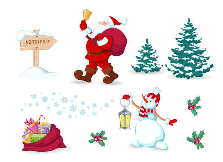 Santa Claus with bag of gifts and bell in his hands. Cheerful snowman holds lamp in his hands. Pointer to the North pole and bag full of gifts. Set of christmas and new year design elements. Isolated