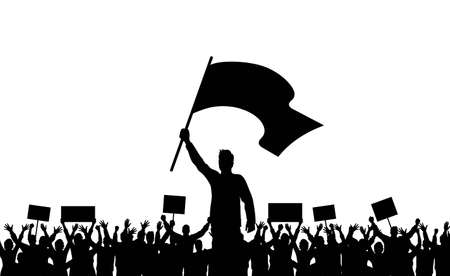 Silhouettes of people. Silhouette of man with flag and crowd of protesters with raised hands and banners. Demonstration, strike and revolution. Political protest and struggle for human rights. Vector