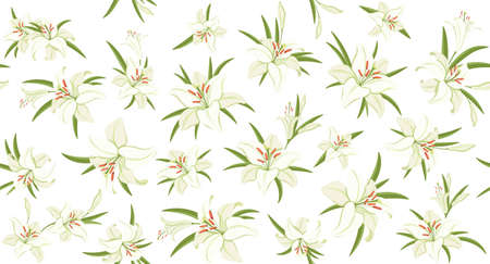 Lilies. Floral seamless pattern. White lilies with green foliage. Symbol of Easter, spring and love. Background template for holiday decoration, congratulations, greeting card and invitation. Vector Иллюстрация