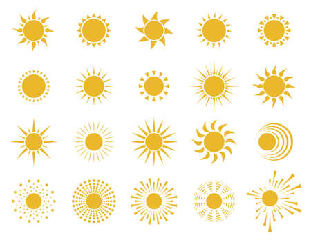 Sun icons. Set of yellow symbols. Spring, summer or tropical background design element. Isolated. Vector