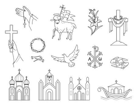 Religious Christian signs and symbols. Set icons crown of thorns, Church, flying pigeon, fish and ship. Lamb is a symbol of Christ's sacrifice. Lilies and hands holding the cross. Isolation. Vector