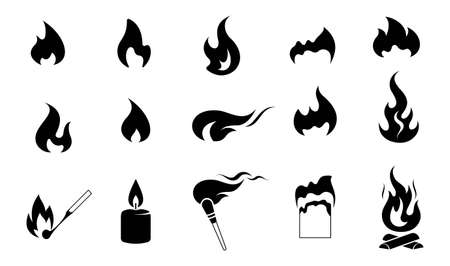 Fire. Set of icons. Fire flame collection of vector symbols. Burning match and paper, candle flame, flaming torch, bonfire. Black silhouette. Isolated. Vector