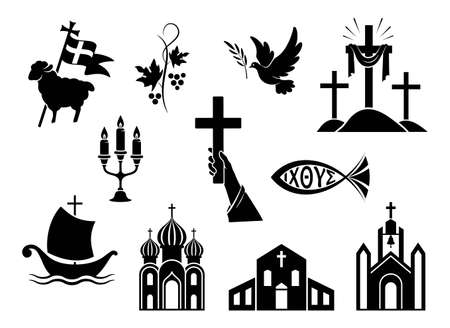 Religious christian signs and symbols. Set of icons. Church, hands holding cross, dove with branch, fish and ship. Cross with shroud. Lamb is symbol of Christ's sacrifice. Isolated silhouette. Vector Иллюстрация