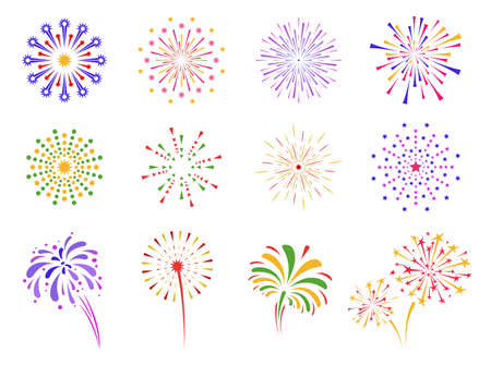 Firework icon set. Firecracker, petard and stars. Happy New year, Holiday, Festival and party firework. Poster design elements, invitations, greetings. Colorful collection. Vector illustration