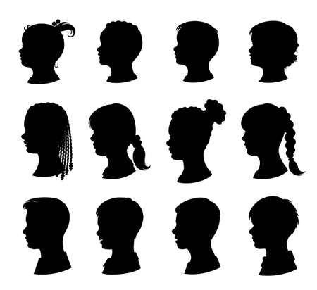 Kids silhouettes set. Collection of vector silhouettes of boys and girls. Young children and teenagers with a variety of hairstyles. Isolated black silhouette. Vector illustration Иллюстрация