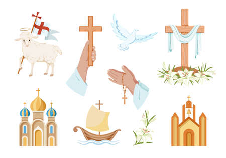 Religious christian signs and symbols. Set of colorful icons. Church, hands holding cross, dove with branch, fish and ship. Cross with shroud. Lamb is symbol of Christ's sacrifice. Isolated. Vector Иллюстрация