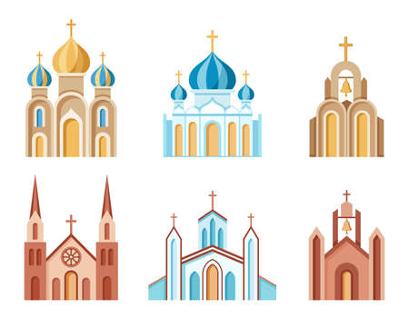 Cathedrals and churches set of colorful icons. Religious architectural buildings. Christian symbol. Collection of Catholic, Orthodox and Protestant churches. Isolated. Vector illustration