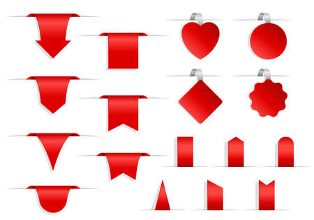Set of red labels and tags. Collection of 3D ribbon banners, badges and labels isolated on white background. Realistic blank icon template for discount, sale, new, offer. Vector illustration Иллюстрация