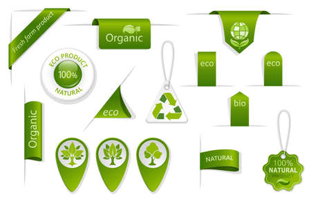 Set of green tags and labels. Eco and bio badges with leaves and trees. Farm, organic and natural symbols. Collection of tags and labels for fresh and ecological products. Isolation. Vector