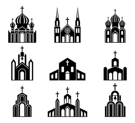 Cathedrals, temples and churches set icons. Religious architectural buildings. Collection of Catholic, Orthodox and Protestant churches. Religious christian signs and symbols. Black silhouette. Vector