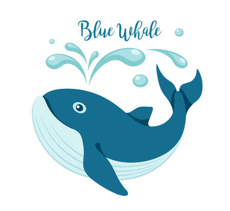 Blue whale logo. Cartoon animal on white background. Design element of the sea, ecology, environmental protection and wildlife. Isolated. Vector illustration