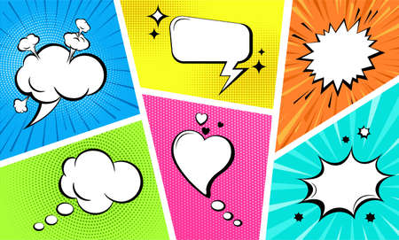 Comic empty speech bubbles set on colorful background. Sound effects in pop art style. Retro style comic banner template, cartoon background. Vector illustration Иллюстрация