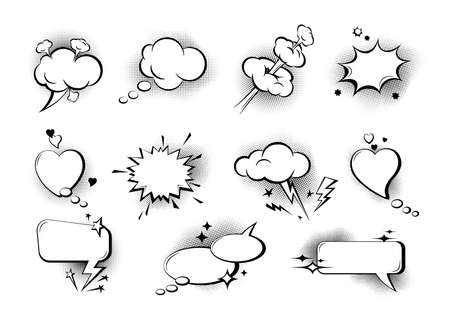 Set of empty comic speech bubbles. Sound effects in pop art style. Collection of speech bubbles and sound effects of various shapes with halftone shadows, stars and sparks. Retro comic style. Vector