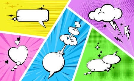 Comic empty speech bubbles set on colorful background. Sound effects in pop art style. Retro style comic banner template, cartoon background. Vintage design. Vector illustration