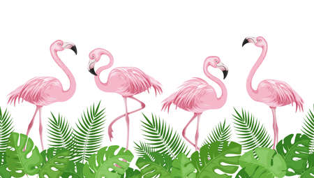 Pink flamingos on background of green palm leaves. Horizontal border with tropical birds and leaves. Exotic background template. Seamless pattern. Isolated. Vector illustration