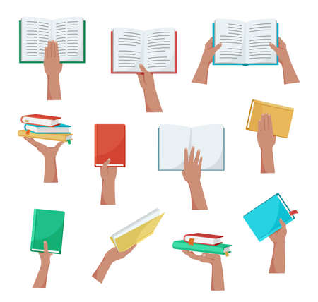 Hand holding book. Colorful set of hands with books, notebooks and magazines. Concept of education, training, science. Template for web design, poster, flyer, advertising. Isolation. Vector