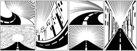 Set of backgrounds with roads, highways, and expressways. Highway with speed lines and empty place for text. Asphalt road in the city. Background template for comics in retro style. Vector Иллюстрация