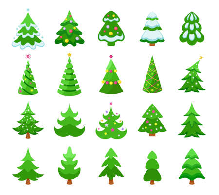 Christmas trees icons set. Various colorful green Christmas trees with snow and decorations, pines and coniferous trees. Collection of Christmas and New Year symbols. Isolated. Vector