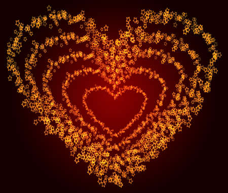 Glowing heart shapes composed from stars. Stock Photo