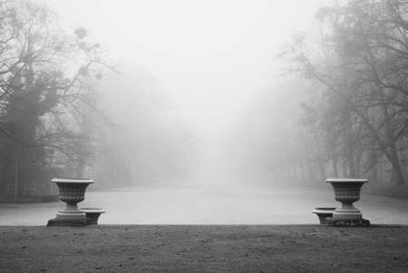 Historic vases with a frozen pond behind them captured in black and white. photo