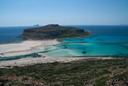 Balos beach and peninsula in northwestern part of Crete. photo