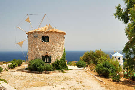 Greek Windmills Stock Photo