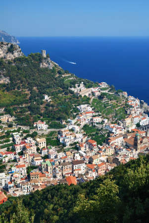 Amalfi town in Italy from a hill above the houses.