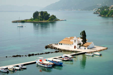 Small Greek Monastery in the middle of a sea